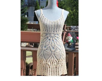 Sale : Crochet Beach Dress /  Open back  / Beachwear / Cover up / One Of A Kind / Color Alabaster / Size Small / Ready to ship