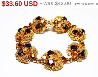Victorian Revival Bracelet - Vintage Gold Tone Filigree Round Links with Dark Golden Topaz Tone and Yellow Faceted GLASS Rhinestones - 1960s