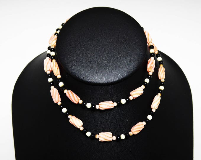 Twisted Coral Bead Necklace - BOHO Vintage 1970s Single Strand Beaded Necklace, Black, Angel Skin Coral Beads, Renew, Reuse, Recycle Jewelry