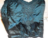 Antique Fabric French  Silk Sourache Cord Victorian Dress Top