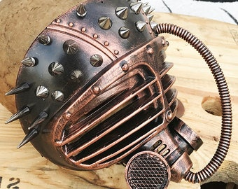 Distressed Copper MAD MAX Fury Road Steampunk Festival Masquerade Burning Man Full Face Mask with Eye Shutters, Spikes and Tube