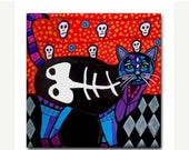 50% SALE- Day of the Dead Black Cat Art Ceramic Tile Mexican Folk Art  Sugar Skulls Coaster (HH112)