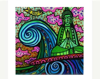 Buddha Surf Art Ceramic Tile print of Surfing Hawaii Waves Tube Surfboard Folk Art