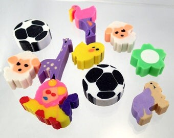 Collection of Vintage 80s and early 90s Novelty Erasers Rubbers Stationary Flower Lamb Soccer ball Chick Chicken Flamingo Lion Giraffe
