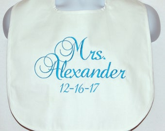 Bride Bib, Protect Wedding Dress, With Wedding Date, Groom Cake Crumb Catcher, Custom Personalize With Name,  Ships TODAY, AGFT 1246
