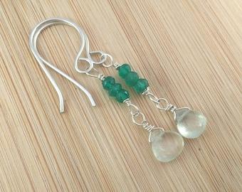 Multi Gemstone Earrings. Prehnite and Green Onyx Earrings. Sterling Silver Long Earrings. Teardrop Briolettes. Emerald Green Gemstones.