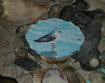 Miniature Acrylic Painting of Seagull on White Washed Wooden Plaque
