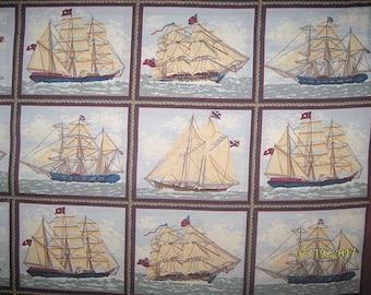 Ancient Mariners, Fabric, Cotton, Ships, Old Ships, Sailing Ships, 1 yard, Boats Fabric,