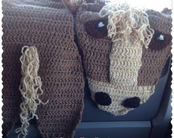 Horse scarf - Scarf for horse person - Equestrian scarf - Handmade horse scarf - Fun Animal Scarf
