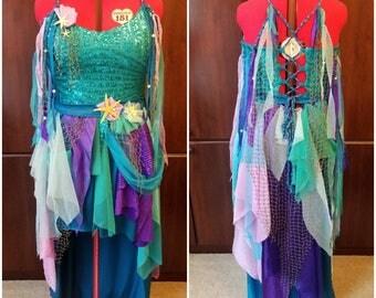 Mermaid Dress, Beach Dress, Fairy Costume, Fantasy Wedding Dress, Mermaid Costume, Ocean Gown, Blue Dress, Purple Dress