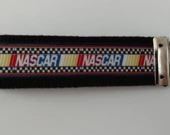 NASCAR racing fan Key Fob Wristlet Key Chain - Batman Grosgrain Ribbon on Black Cotton Heavyweight Webbing