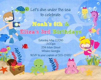 Under the Sea Party Invitation-Digital File