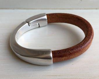 Thick COGNAC brown leather cuff BRACELET half leather, half metal magnetic SILVER clasp bracelet