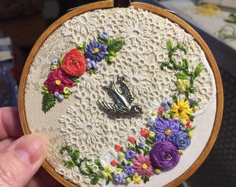 Embroidered Collage Hoop with bird charm, vintage textiles, upcycled art