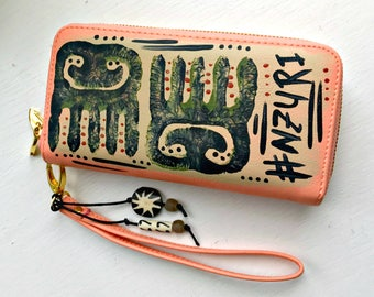Tribal Immunity Hand Painted Vegan Leather Nzuri Double Zipper Wristlet Wallet