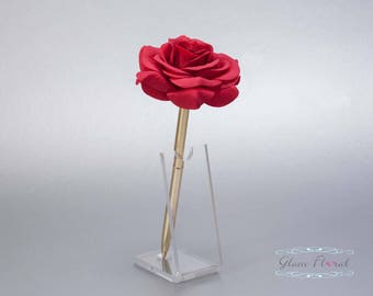 Red Rose Guestbook Pen. Gold Wedding Pen Set, Wedding Pen Holder, Real Touch Rose Flowers, Christmas, Valentines Day. Tea Rose Collection