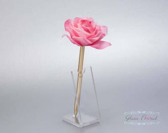 Cream Pink Rose Guestbook Pen. Gold Wedding Pen Set, Wedding Pen Holder, Real Touch Rose Flowers two tone pink, blush. Tea Rose Collection