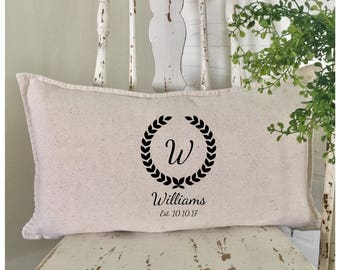 French Country Decor | Rustic Wedding | Monogrammed Lumbar Pillow |  Wedding Pillow with Name and Date