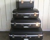 Mid-Century Airway Four Piece Luggage Set - Charcoal Gray with Keys