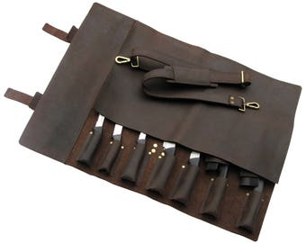 Leather Knife Roll, Leather Chefs Bag, Knife Case, Chef Bag, Knife Bag, Chef's Roll - Khampa X - Brass Buckle