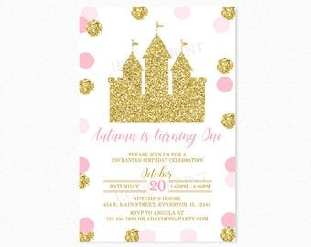 Pink and Gold Princess Castle Birthday Party Invitation, Princess Birthday Invitation, 1st Birthday, Personalized, Printable or Printed