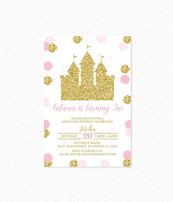 Pink and gold princess castle birthday party invitation princess il570xn filmwisefo Image collections