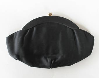 Vintage 1960's Black Satin Clutch Purse with Rhinestone Top Clasp