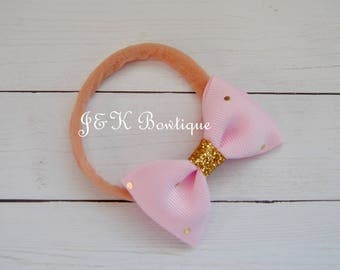 Pink and gold Baby headband, Pink hair bow, Newborn headbands, Nylon Headbands, Itty bitty bows, Baby hair bows, Flower Headband