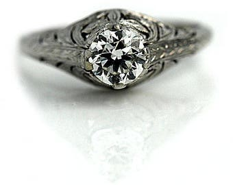 Vintage Solitaire Engagement Ring .85ctw Solitaire Diamond Ring Petite Engagement Ring Vintage Promise Ring Platinum Ethical Diamond Ring!