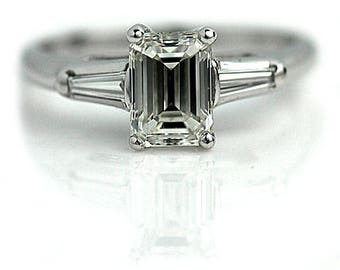 Vintage Engagement Ring Classic 1.26ct Emerald Cut Diamond and Baguette Ring GIA Certified - Vintage White Gold Setting - Engagement Vintage