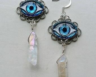 Aura Eyes // Gorgeous Third Eye Drop Earrings w/ Vintage Glass Eyes, Aura Quartz Evil Eye Boho Gypsy Bohemian Chakra Festival Bohochic Glam