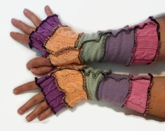 Upcycled Fingerless Gloves Pastel Armwarmers Recycled Wrist warmers Stripe Gloves Knit Gloves Fingerless Mittens Colorful Arm Warmers