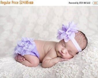 ON SALE Lavender Bloomer Set, Bloomer and Headband, Newborn Photo Prop, Baby Girl Prop, Lace Bloomers, Baby Headband, MANY Colors