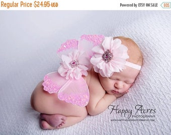 ON SALE NEWBORN Wings,  pink wings and headband set, Angel Wings, newborn photography prop, baby wings, fairy wings