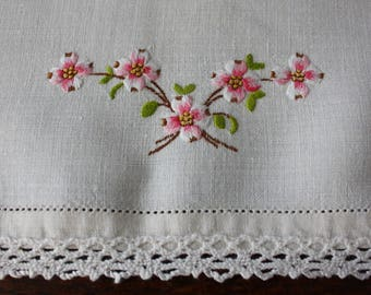 Pair Linen Table Runners Dresser Scarves Embroidered Pink Blossoms Lace