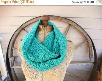 The Gypsy Jade Boho Crochet Infinity Scarf Neck Cowl Wrap Long Chunky Warm Neck Wear Light Mermaid Teal Fall Autumn Winter Fashion scarf