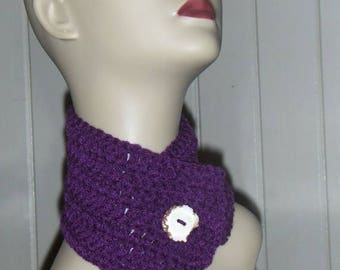Plum Pudding Neck Cowl Wrap. Handmade Crocheted Neck Cowl with Deer Antler Button Bohochic woodland gypsy scarf