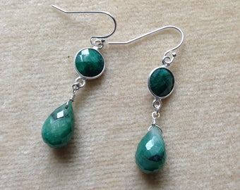 Emerald Green Natural Ruby Briolette, Emerald Connector Sterling Silver Earrings