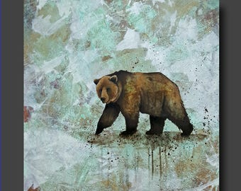 Simplicity Series - Bear Painting - Abstract Bear - Modern Contemporary Art by Britt Hallowell