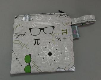 Mod Geek Sandwich Bag, Litterless Lunch, Geek Sandwich Bag, Nerd Print Fabric, Food Safe Sandwich Baggie, Gifts Under 20