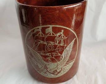 32 oz Navy Engraved Hickory Beer Mug, Wood Mug, US Navy Engraved Mug, Tankard, Beer Stein, Military, Naval