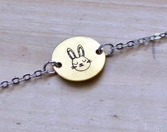 BUNNY bracelet // silver and raw brass // hand stamped jewelry