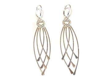 Silver Dangle Earrings Hammered Sterling Silver Jewelry Contemporary Kinetic