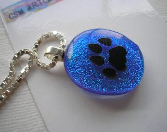 Paw Pendant Dichroic Glass Cobalt Blue .925 Sterling Silver Italian Box Chain Diamond Cut Necklace Fused Glass Blue Jewelry Sparkle Pendant