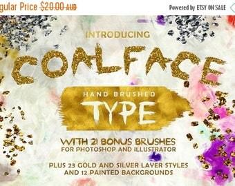 80% OFF Coalface Brush Font Typeface - Plus BONUS Gold and Silver Photoshop Layer Styles, Brushes, Backgrounds