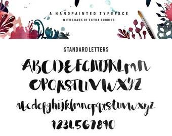 80% OFF Rumpledrop brush script Typeface - Handpainted - Plus BONUS Watercolor Textures, Glitter, Foil, illustrations