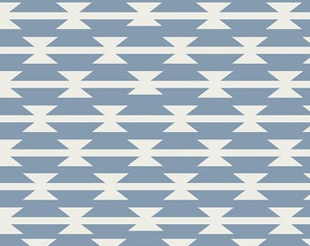 Pale Dusty Blue and Cream Geometric Arrow Jersey Knit Fabric, Arizona After by April Rhodes for Art Gallery Fabric, Tomahawk Stripe,  1 Yard
