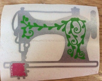 Vintage sewing machine decal, sewing machine decal, vinyl decal, car decal, custom decal, sewing decal, vine decal, business decal