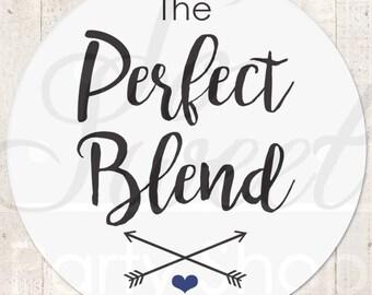 Wedding Coffee Favor Label Sticker, Wedding Favor Stickers, The Perfect Blend Sticker, Wedding Favor Ideas, Tea Favor Sticker - Set of 24