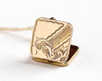 Antique Victorian Rosy Yellow Gold Filled Flower Locket Necklace - Vintage Late 1800s Etched Flower Square Floral Photo Pendant Jewelry